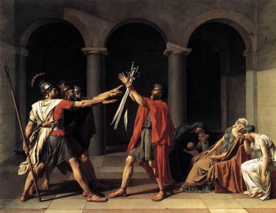Жак Луи Давид. Клятва Горациев. 1784. Холст, масло. 330 x 425. Лувр