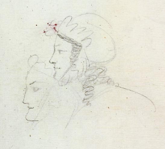 Екатерина Бакунина. ПД 829. Л 58 об. Атрибуция Г. В. Пашниной (левый набросок, перечеркнутый по линии носа) и правый оплечный рисунок (атрибуция АЧ).