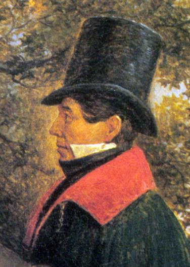 Фрагмент картины Г.Г.Чернецова. «Пушкин, Крылов, Жуковский и Гнедич в Летнем саду». 1832