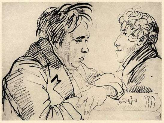 Крылов и Гнедич. (Гнедича атрибуировал АЧ.) Рисунок О.А.Кипренского. Около 1816