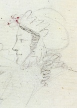 Екатерина Бакунина. Рисунок Пушкина. ПД 829. Л. 58 об. Ок. 1819.