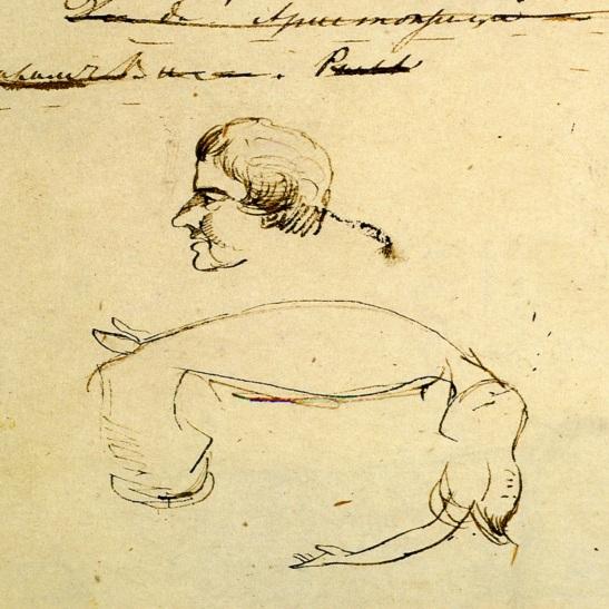 ПД 838. Л. 99. Набросок профильного портрета Яна Потоцкого