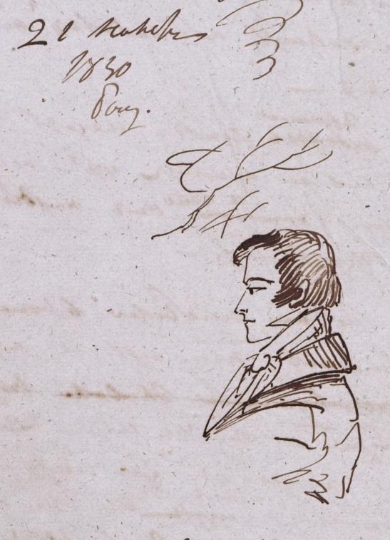 Адам Мицкевич., подписанный над его портретом монограммой АМ. Рисунок Пушкина. ПД 1084. Л. 2.