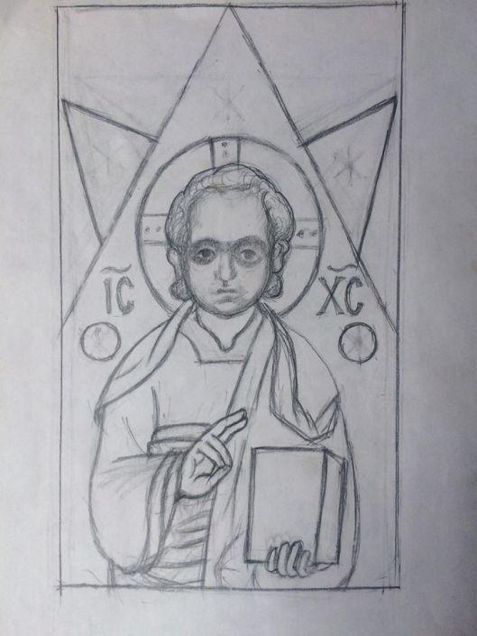 Реконструкция берестяной новгородской иконки